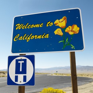 Welcome to California sign.